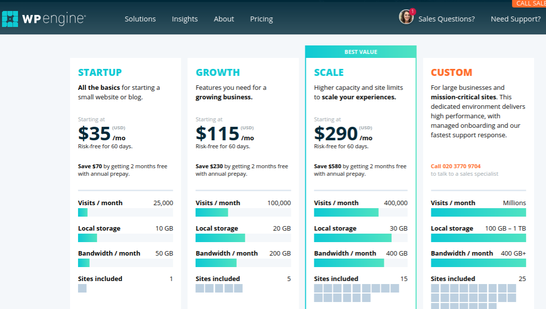 wp engine review pricing