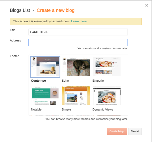 how to create a blog on blogger organic traffic theme