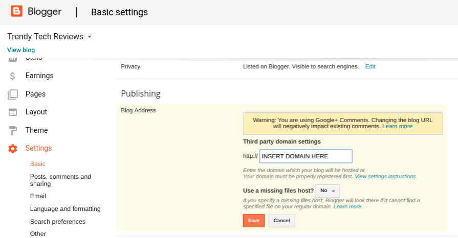 how to start a blog on blogger domain settings