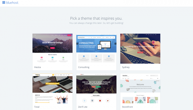 free wordpress themes bluehost